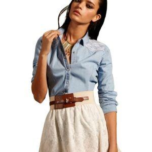 American Rag Lace Detail Chambray Shirt
